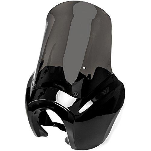 Krator JBM-6009-S Black & Smoke Tall Verkleidung Windschutzscheibe Club Style Kit kompatibel mit Harley-Davidson Dyna, Super Glide T-Sport FXDXT, FXR