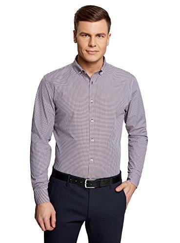 oodji Ultra Hombre Camisa Entallada a Cuadros Pequeños, Morado, 44cm / ES 56 / XL