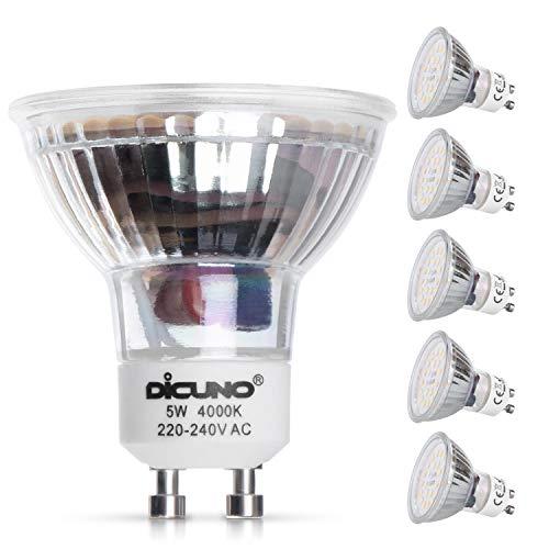 DiCUNO Lampadina LED GU10, 5W, 500LM, Bianco naturale 4000K, Equivalente alogeno 50W, Lampadina LED per faretti GU10, Non dimmerabile, 220-240V, Fasci larghi 120 °, 6 Pezzi