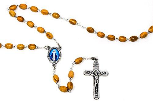 Catholic Gift Shop Ltd Wundertätige Olivenholz Rosenkranz Perlen und Lourdes Gebet Karte, katholischen Rosenkranz