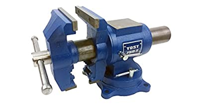 "Yost 5"" Heavy-Duty Bench Vise, Double Swivel Rotating Vise: Head Rotates 360° Vertically, Body Rotates 360° Horizontally In The Interlocking Geared Swivel Base, (Model 750-E; 1-Pack)"