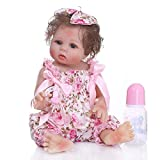 TERABITHIA 18inch 47cm Silicone Vinyl Full Body Reborn Baby Girl Dolls Preemie Washable Newborn Doll Anatomically Correct in Pink Floral Pants