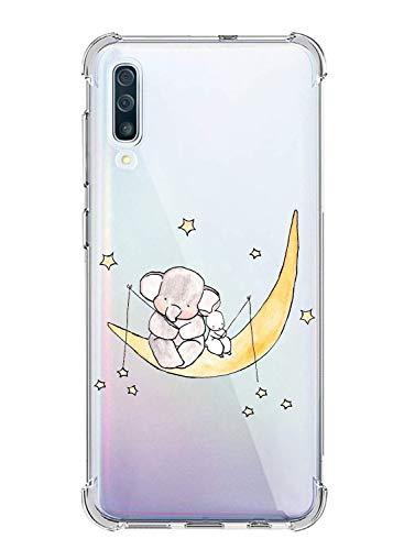 Oihxse Silicona Funda con Samsung Galaxy S10 5G TPU Flexible Suave Transparente Protector Estuche Airbag Esquinas Reforzadas Ultra-Delgado Elefante Patrón Anti-Choque Caso (D3)