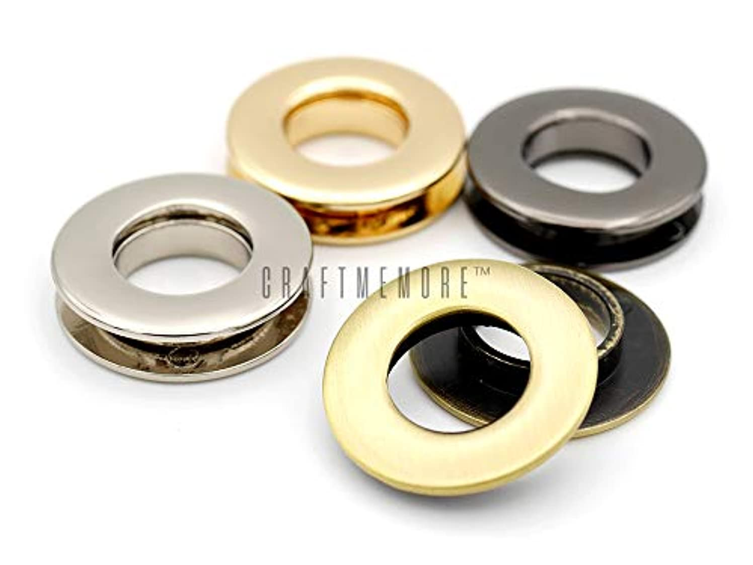 CRAFTMEmore Metal Push Snap Together Grommet Flat Surface Snap Rings Eyelet O-Rings Purse Loop Easy Installation Pack of 4 Complete Rings (17mm (11/16