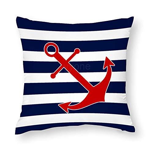 VinMea - Federa decorativa decorativa per cuscino, motivo nautico, con ancora, blu e bianco marittimo, in cotone, per divano e poltrona, 45 x 45 cm