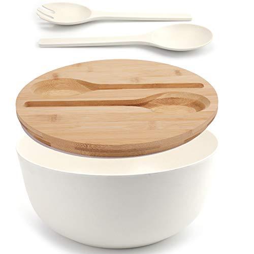 Yopay Set of 3 Bamboo Fiber Salad Bowl with...