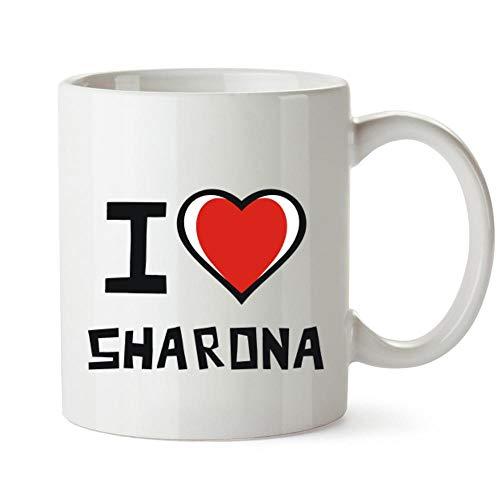 Idakoos I love Sharona Bicolor Heart Taza cerámica 11 onzas