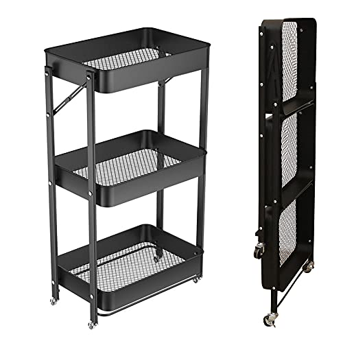 XIWODE 3 Tier Folding Metal Rolling Cart with Wheels,Black Mobile Organizer Service Cart for Kitchen Bathroom Office,No Assembly Need Trolley Shelf