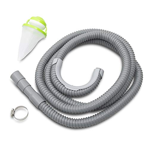 EEVARK Universal Washing Machine Drain Hose - Extra Long Corrugated and Flexible 10 ft Drain Hose - Reinforced Replacement Washer Hose - Complete with Hose Clamp, Drain Guide and Reusable Lint Catcher