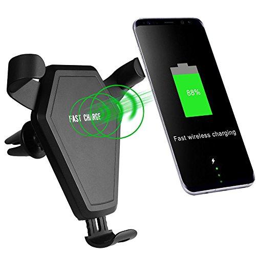 Caricatore Wireless Rapido DoSHIn 10W Carica Veloce Wireless 2 IN 1 QI Auto Caricabatterie Air Vent Mount Supporto per iPhone X/8, Galaxy S8/Note 8, Lumia 950 e Dispositivi Abilitati al Qi, Nero