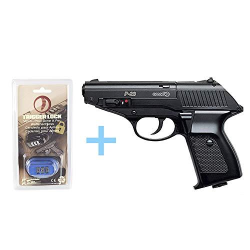 Gamo Pack Pistola Aire Comprimido (CO2) P-23 / Full Metal, Pistola de perdigones, Potencia de 3 Julios, Calibre 4.5 mm, Pistola co2 + Candado de Seguridad Yatek 4,5.