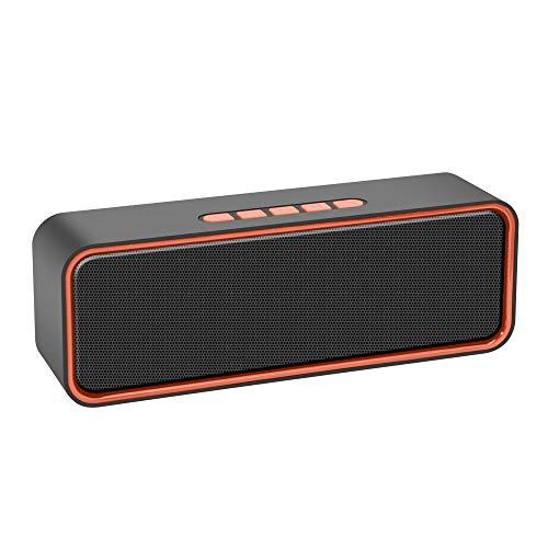 Bluetooth Lautsprecher, Kolaura TWS Tragbarer Wireless Bluetooth 5.0 Lautsprecher mit 3D-Stereo-HiFi-Bass, 1500-mAh-Akku, 12 Stunden Spielzeit (Orange)