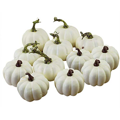 TangQene 12 PCS Assorted Sizes Rustic Harvest White Artificial Pumpkins for Halloween, Fall Thanksgiving Decorating Harvest Embellishing and Displaying