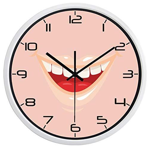 Reloj de Pared Hombres Y Mujeres Vendedores Calientes Estilo Moderno Clínica Dental Sonrisa Boca Reloj De Pared Reloj DeCuarzo Diente 10 Pulgadas B