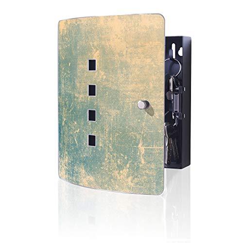 banjado Design Schlüsselkasten aus Edelstahl | 10 Haken für Schlüssel | praktischer Magnetverschluss | 24x21,5cm Motiv Patina Grün