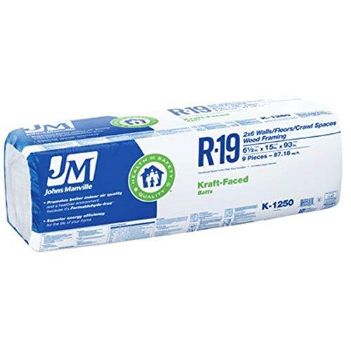 """JOHNS MANVILLE  R19 Insulation Kraft Batt 15""""x93"""""""