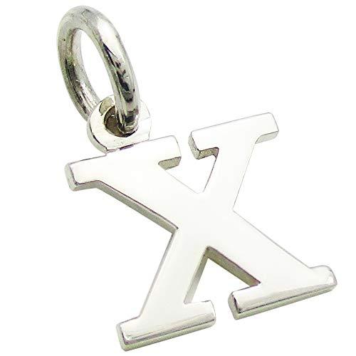 小さなアルファベットのチャーム (1) 「X」 ステンレスチェーンセット ゴシック体 ネックレス シルバー925 60cm
