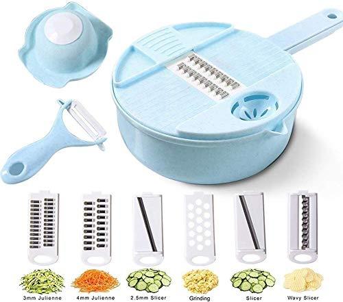 Relaxbx Multi-Functionele Plantaardige Slicer Chopper Keuken Snijder Groenten Fruit Gereedschap met 6 Bladen Ei Divider Drainer Salade Maker (Kleur : Groen)