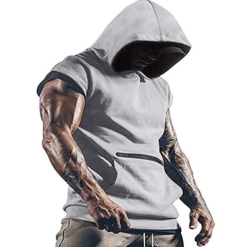 Camiseta sin mangas para hombre, con capucha, para gimnasio, para verano, culturismo, con bolsillos, gris, M