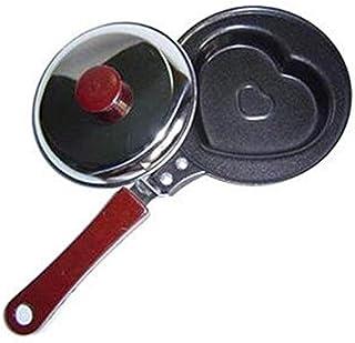 Fantasyworld Mini Huevo Frito Sartén Molde Creativo Desayuno Pancake Pan Antiadherente Utensilios de Cocina Sección de Amor - Negro