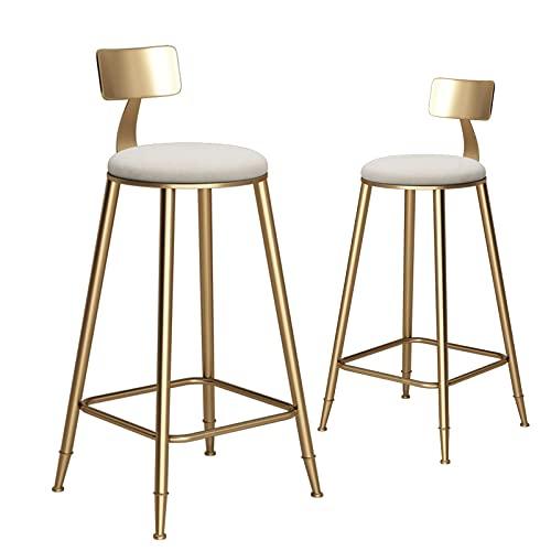Natuogo Taburetes de Bar, Asiento de Terciopelo Suave, Barra de Desayuno, mostrador, sillas de Cocina con Patas, respaldos y reposapiés de Metal