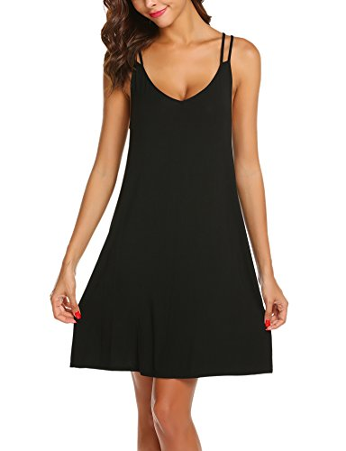 Ekouaer Striped Cotton Nightwear Sexy Nightgown for Women,S-black,Large