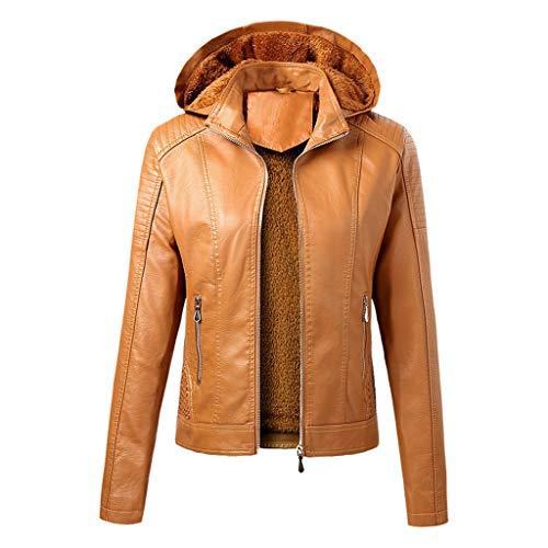 90sMuse Women Faux Leather Jacket Full-Zipper Motorcycle Bomber Jacket with Hood, Winter Warm Fleece Lined Coat Outwear (Yellow, L)