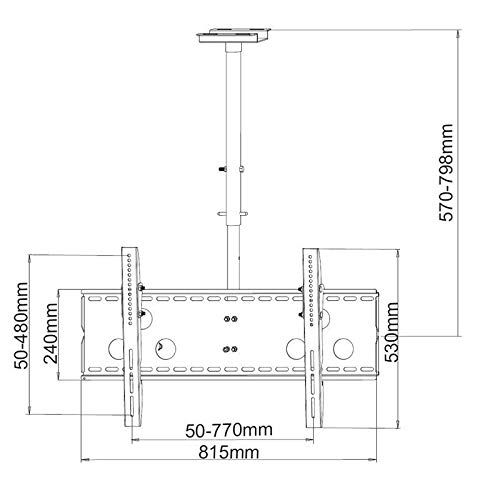 TradeMount Monitor plafondbeugel uitschuifbaar van 57cm tot 80cm draaibaar, 20° kantelbaar 360° draaibaar voor LG 65
