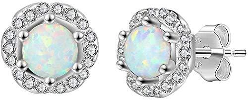 Pendientes de ópalo de plata 925 para mujer, forma de flor de ópalo blanco con circonita, joyería de ópalo, joyería de moda para bodas