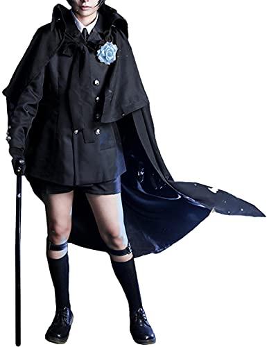 Charous Anime Black Butler Ciel Phantomhive Disfraz de Cosplay Disfraz de Halloween Traje de uniforme negro para mujer -Negro_Peque?a