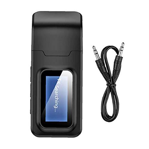 Odoukey Transmisor Receptor Bluetooth 5.0 4 en 1 de Audio USB inalámbrico de 3,5 mm Adaptador Auxiliar para Car Home Stereo System Negro