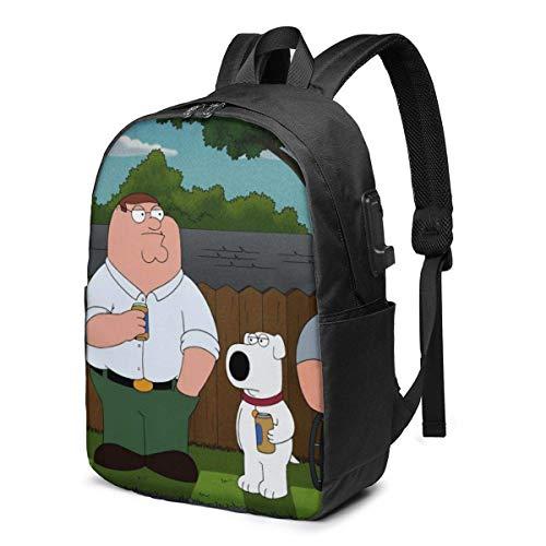 XCNGG Family Guy - Mochila USB para portátil de 17 Pulgadas, Unisex, de Viaje, Resistente al Agua con Puerto de Carga USB para la Escuela, Mochila para Estudiantes universitarios