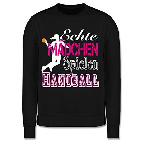 Sport Kind - Echte Mädchen Spielen Handball weiß - 152 (12/13 Jahre) - Schwarz - Handball Pullover Kinder - JH030K - Kinder Pullover