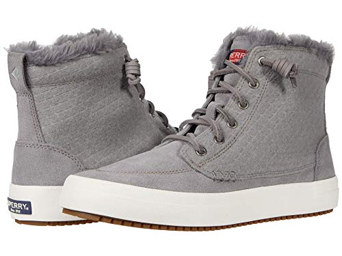 Sperry womens Crest Lug High Top Quilted Cozy Suede Snow Boot, Griffin, 8 US