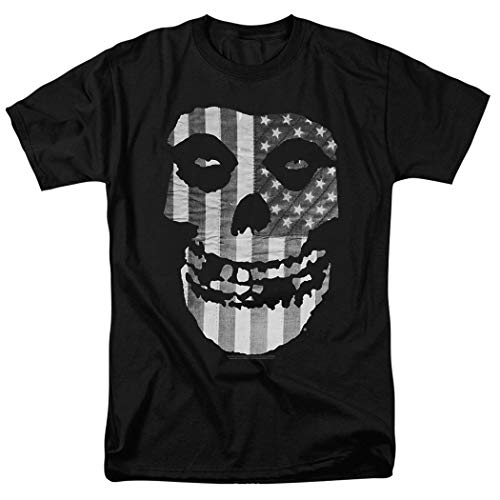 Popfunk Misfits Officially Licensed Gray American Flag Skull T Shirt (X-Large)