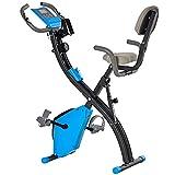 HOMCOM Heimtrainer 2-in-1 Fahrradtrainer LCD-Display klappbarer Hometrainer Trimmrad mit 8 stufig einstellbarem Magnetwiderstand und 1 Paar Spannseil Stahl Blau+Grau 97x51x115 cm