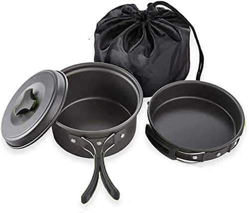 ZFQZKK Kit de utensilios de cocina de camping, juego de cocina al aire libre con hervidor, olla de camping ligero y sartén para 2 a 3 personas Camping, Senderismo, Camping de picnic Utensilios de coci