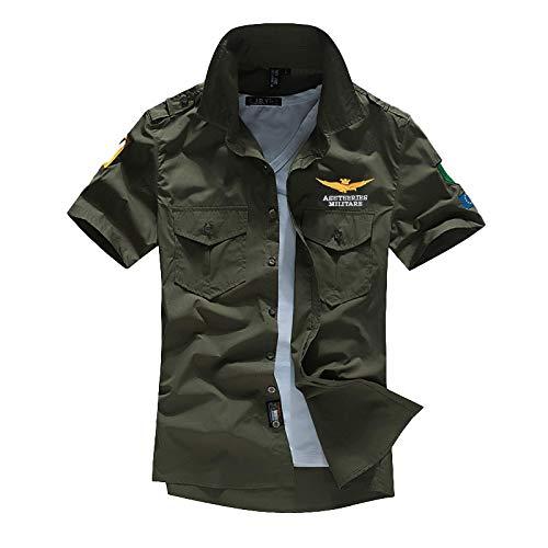 Camisas de Manga Corta de Verano para Hombres, Bordado de Moda, Estampado, Costura, Herramientas, Brigada Militar, Blusa de Talla Grande Europea y Americana L