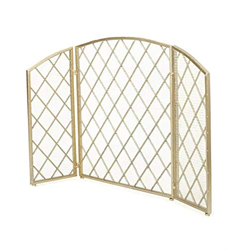 Great Deal! Fireplace Screens, Home Decor Iron Freestanding Fire Screen Spark Flame Guard, 3 Panel F...