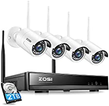 ZOSI 8CH 1080P Wireless Security Cameras System Outdoor with 2TB Hard Drive,H.265+ 8CH 1080P HD CCTV NVR and 4pcs 2.0MP 1080P Wireless Weatherproof IP Surveillance WiFi Cameras with 80ft Night Vision