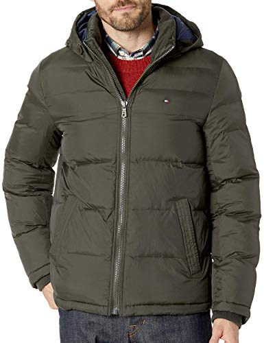 Tommy Hilfiger Men's Classic Hooded Puffer Jacket (Regular and Big & Tall Sizes), Olive, L