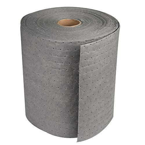 Aain LT010A Heavy Weight polypropylene Meltblown Maintenance Universal Absorbent Bonded Roll, Gray Oil-Cleanup Premium Heavyweight Absorbent Mat Roll 150' L x 15