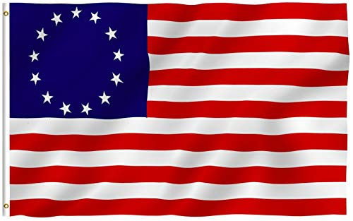 Anley Fly Breeze 3x5 Foot Betsy Ross Flag - Vivid Color and Fade Proof - Canvas Header and Double Stitched - United States Flags Polyester with Brass Grommets 3 X 5 Ft