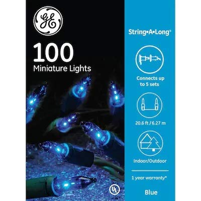 GE String-A-Long 100-Count 20.6-ft Constant Blue Mini Plug-in Indoor/Outdoor Christmas String Lights 60214LO