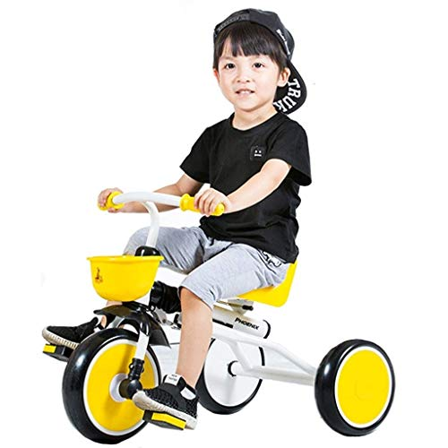 seveni Bicicletas para niños, Triciclo para niños Bicicleta para niños Bicicleta para niños al Aire Libre Bicicleta portátil Plegable de 1-3 años (Color: Amarillo, tamaño: 79 * 50 * 39 cm)