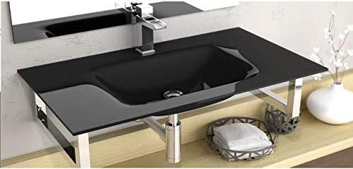 Waschbecken - Design Glas Aufsatz besondere Beschichtung 610x460x140mm in schwarz (Cristal Float) von Art of Baan®