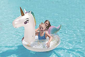Hoovy Unicorn Ring Float | Inflatable Water Toys for Kids & Adults | Fun Rainbow Swim Raft for Baby & Children Pool-Party Supplies for Beach & Swimming | Giant Inflatables & Floating Decorations
