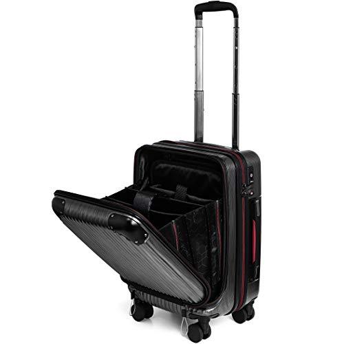 PROEVO(プロエボ)スーツケース MAX 軽量 小型 フロントオープン 【W-Receipt】 前ポケット スクラッチ/ガンメタリック SSサイズ(約32L)