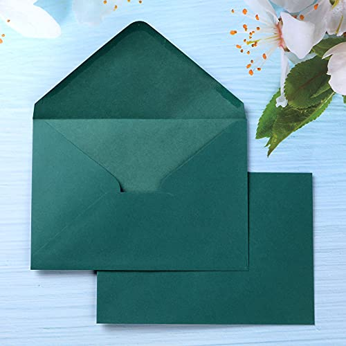 PONATIA 50 Pieces/Lot A7 Emerald Green Envelopes, 5.35 x 7.7 inches, Perfect for 5''x7'' Invitation Cards, Wedding Invitation Cards, Graduation Paty Invite (Emerald Green)