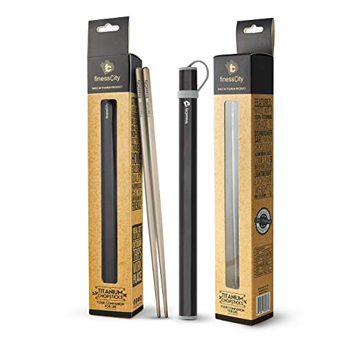 Titanium Chopsticks (NEW CASES) Extra Strong Ultra Lightweight Professional (Ti), Chopsticks Comes with Exclusive Quality Free NEW Aluminium Case (Black)